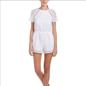 J.O.A. White Eyelet romper with open back
